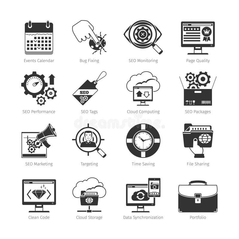 Desarrollo web y SEO Black Icons stock de ilustración
