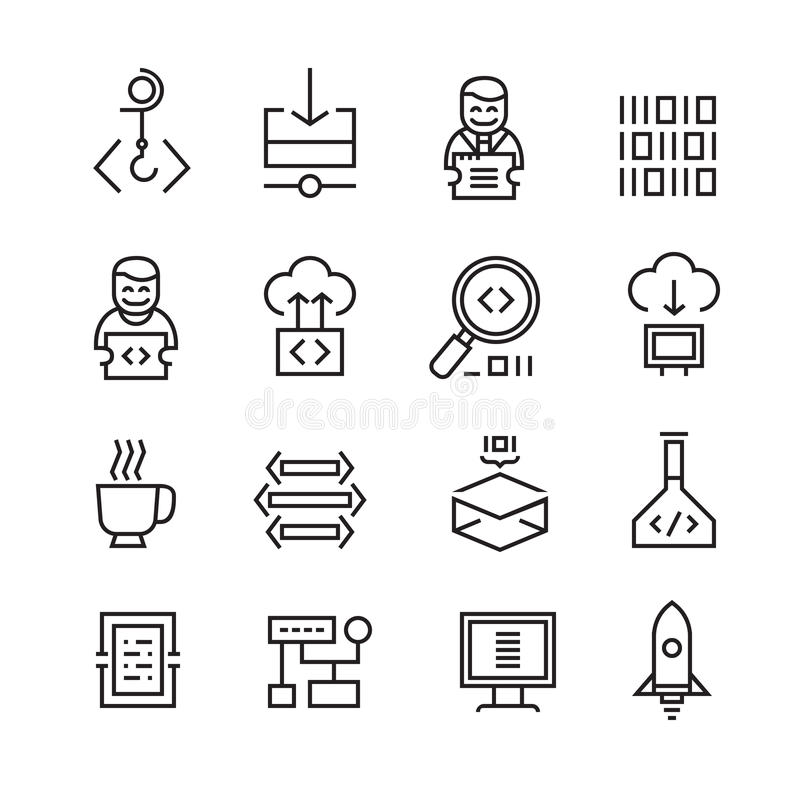 Desarrollo web y Seo Icons stock de ilustración