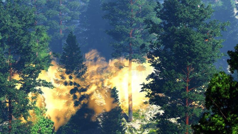 Desastre com fogo na rendição da floresta 3d ilustração stock