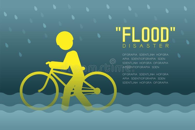 Desastre de inundação do pictograma dos ícones do homem com ilustração infographic do projeto da bicicleta ilustração do vetor