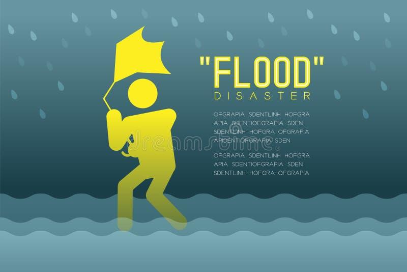 Desastre de inundação do pictograma dos ícones do homem com ilustração infographic do projeto quebrado do guarda-chuva ilustração do vetor
