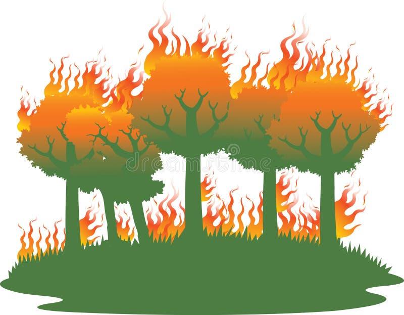 Desastre do incêndio florestal ilustração stock