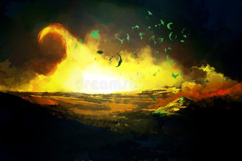 Desastre escuro da destruição ilustração royalty free