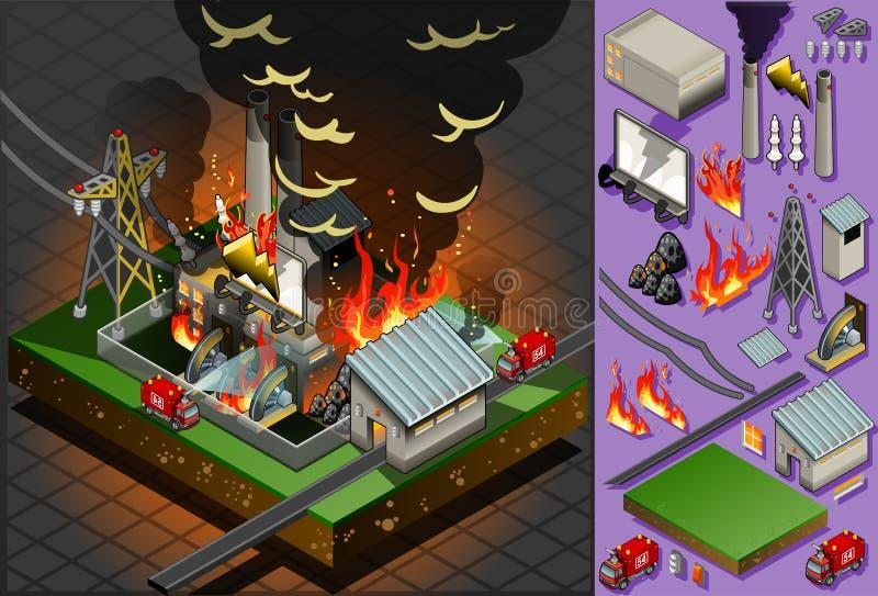 Desastre isométrico del fuego de la planta del carbón ilustración del vector