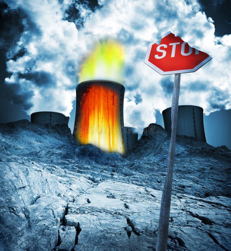 Desastre radioativo do perigo nuclear imagem de stock