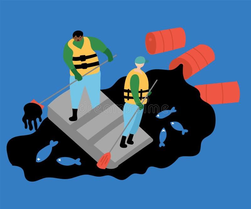 Desastres ecol?gicos A poluição de óleo do oceano, peixe inoperante, pescadores limpa o mar ilustração do vetor