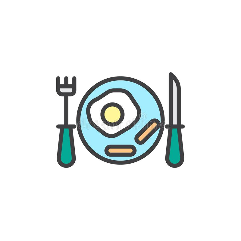Desayune con los huevos revueltos y el icono llenado las salchichas del esquema libre illustration