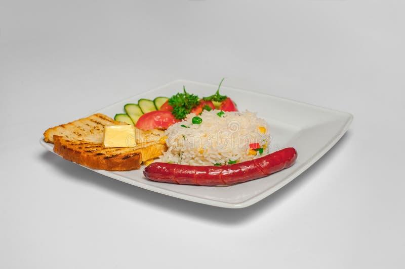 Desayuno apetitoso con arroz fotografía de archivo libre de regalías