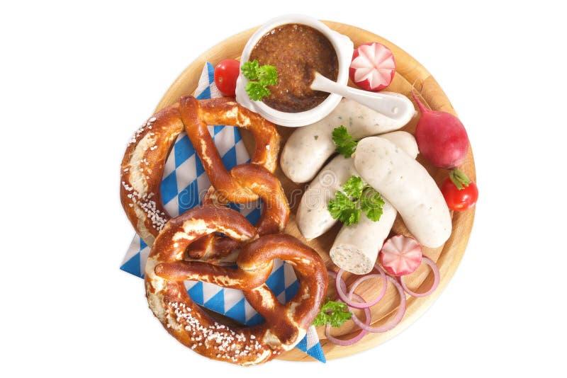 Desayuno bávaro de la salchicha de la ternera imágenes de archivo libres de regalías