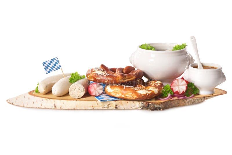 Desayuno bávaro de la salchicha de la ternera imagen de archivo