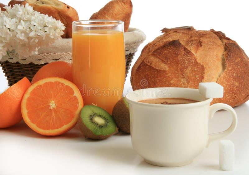 Desayuno continental, coffe, pan, zumo de naranja foto de archivo