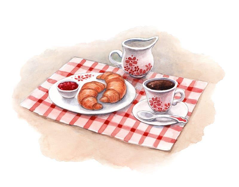 Desayuno de la acuarela. Cruasanes y café stock de ilustración