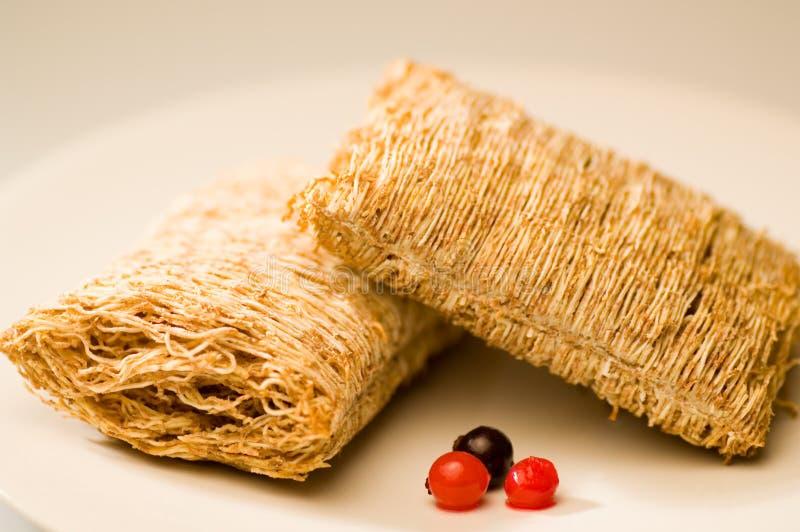 Desayuno de la galleta del trigo imagen de archivo libre de regalías