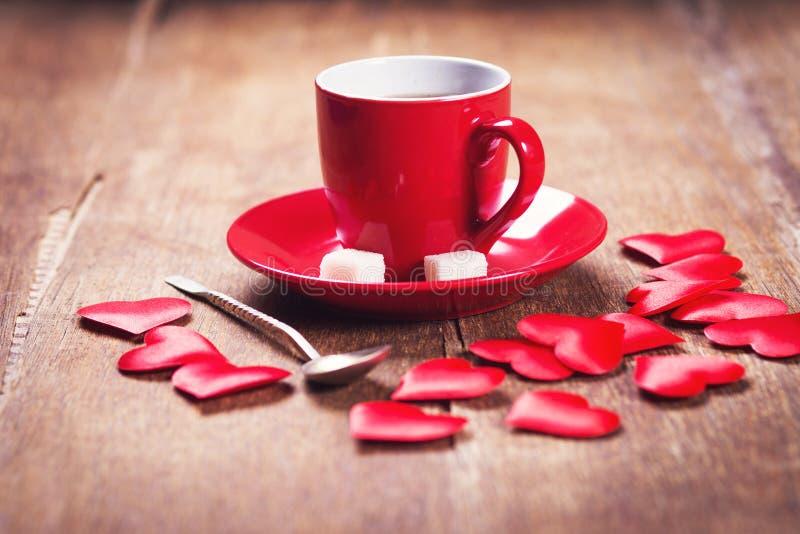 Desayuno de la mañana para el día de tarjetas del día de San Valentín foto de archivo