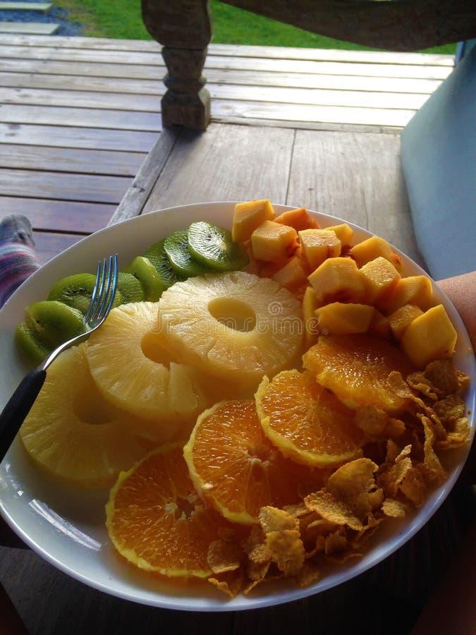 Desayuno de las frutas fotos de archivo