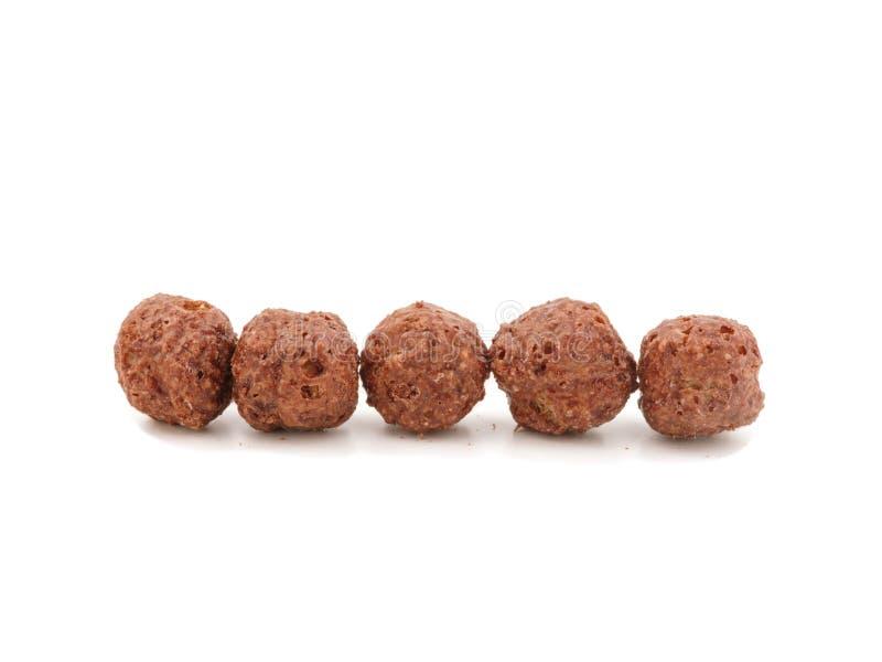 Desayuno de los cereales Bolas del cereal del chocolate foto de archivo libre de regalías