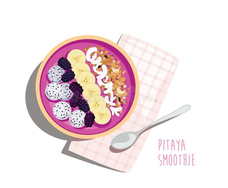 Desayuno del smoothie de Pitaya - comida nutritiva del verano stock de ilustración