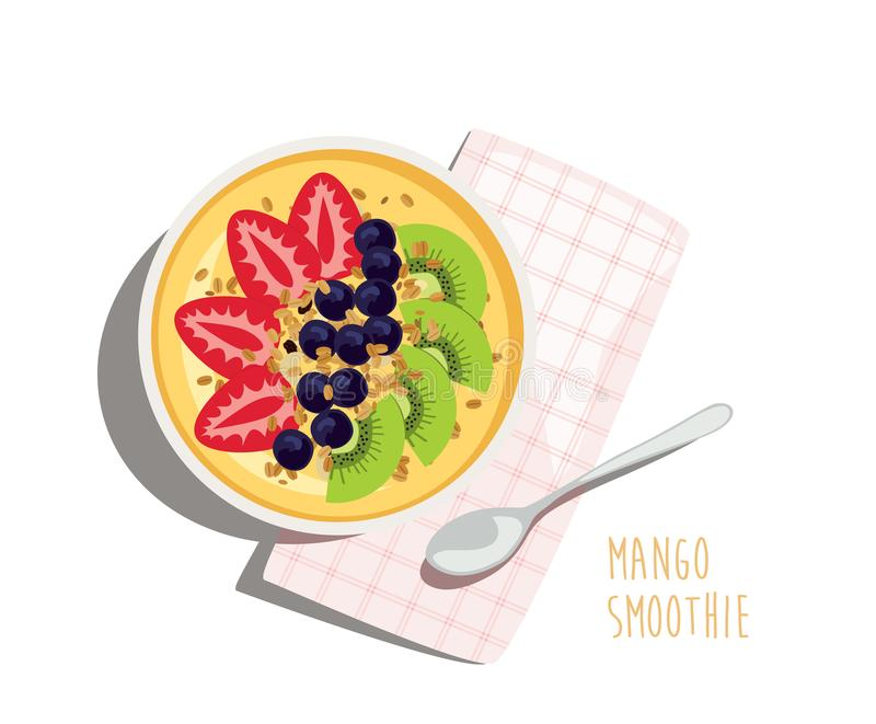Desayuno dulce y tropical del Smoothie del mango ilustración del vector