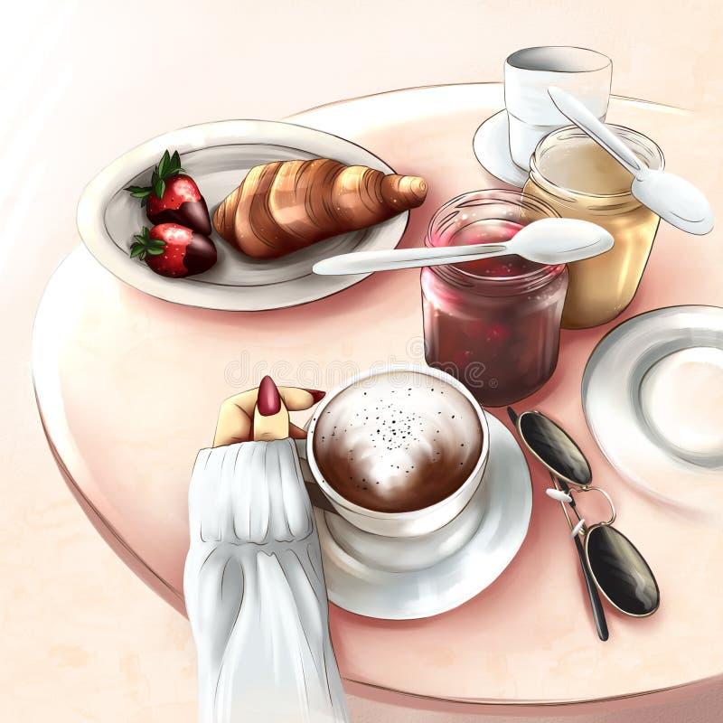 Desayuno en Par?s stock de ilustración