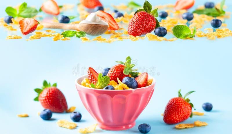 Desayuno libre del gluten con las bayas, el yogur natural y las avenas fotografía de archivo libre de regalías