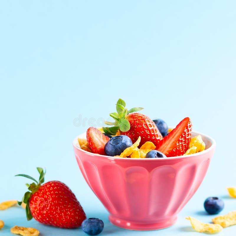 Desayuno libre del gluten con las bayas, el yogur natural y las avenas fotos de archivo