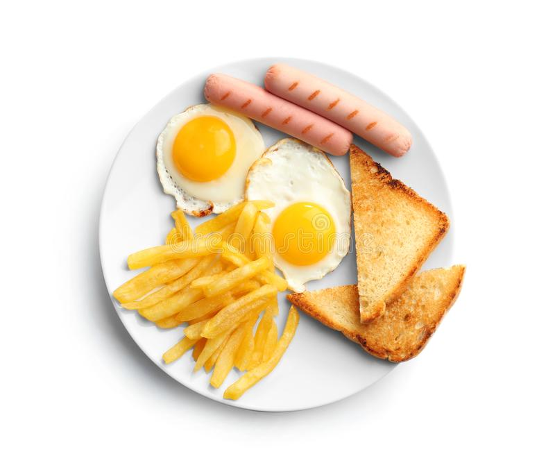 Desayuno sabroso con los huevos fritos fotografía de archivo libre de regalías