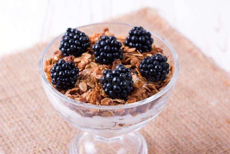 Desayuno sano con el granola y bayas hechas en casa, yogur con muesli y zarzamoras fotografía de archivo libre de regalías