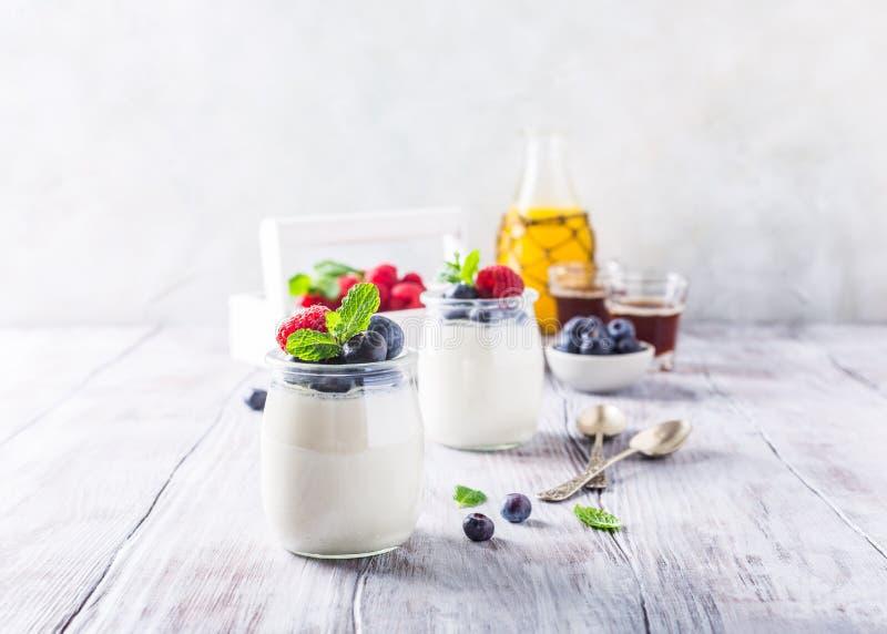 Desayuno sano con el yogur y las bayas naturales foto de archivo libre de regalías