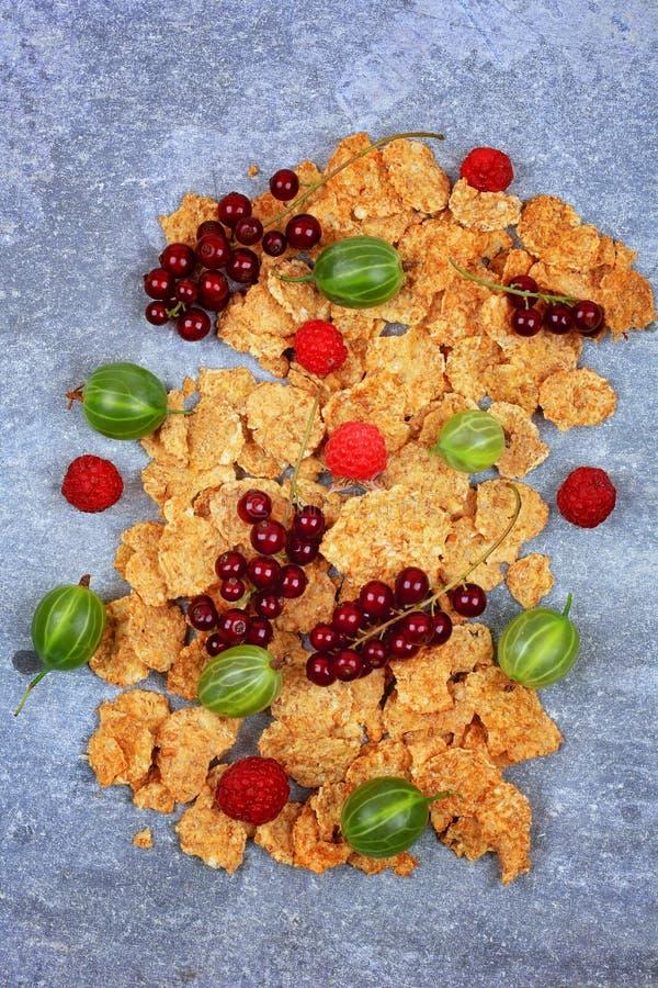 Desayuno sano del granola con las bayas frescas foto de archivo