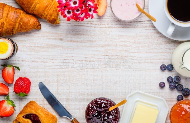 Desayuno sano en marco del espacio de la copia fotos de archivo