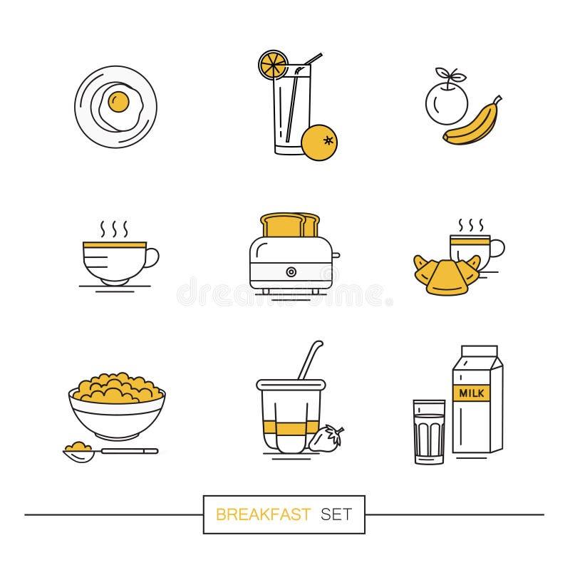 Desayuno - sistema de iconos del vector en el estilo plano linear relacionado con la comida de la mañana stock de ilustración