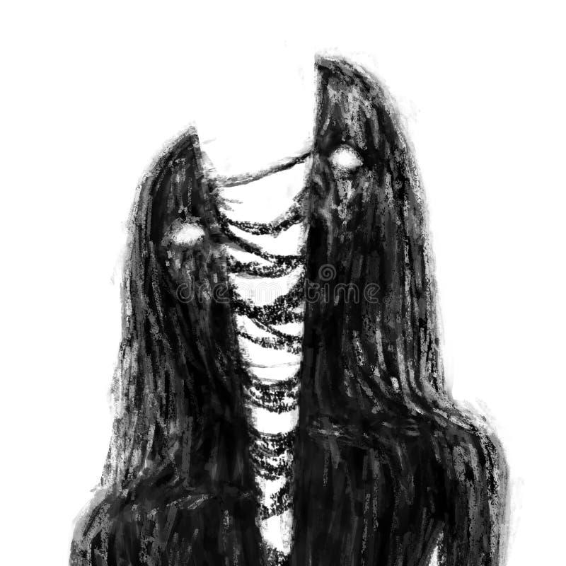 Desbastado pela menina do vampiro dos zombis da espada ilustração stock