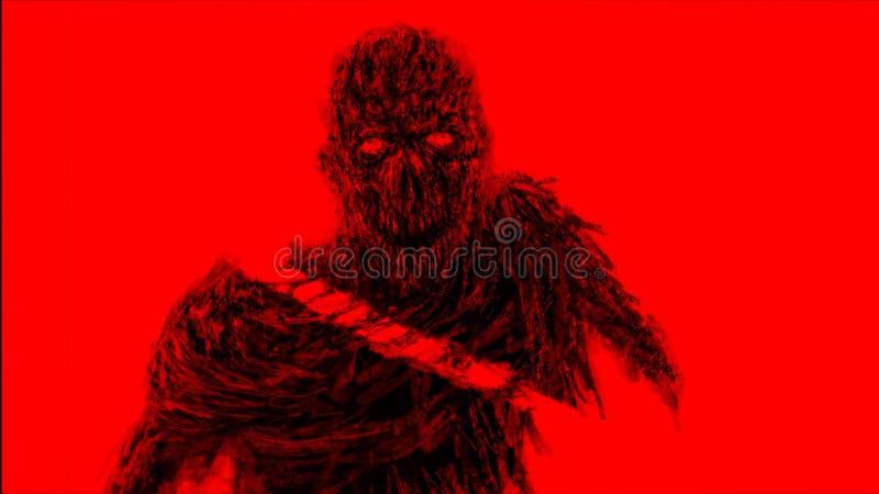 Desbastado pelo monstro dos zombis da espada Cor vermelha do fundo ilustração do vetor