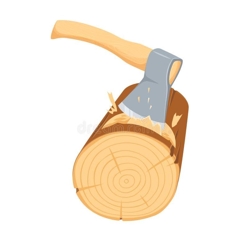 Desbastando o log do machado ilustração royalty free