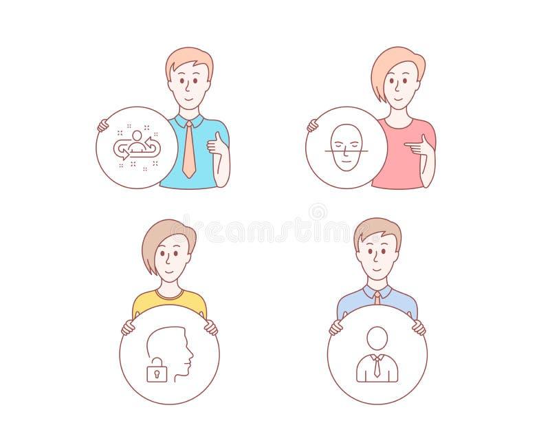 Desbloquee el sistema, el reconocimiento de cara y los iconos del reclutamiento Muestra humana Vector stock de ilustración