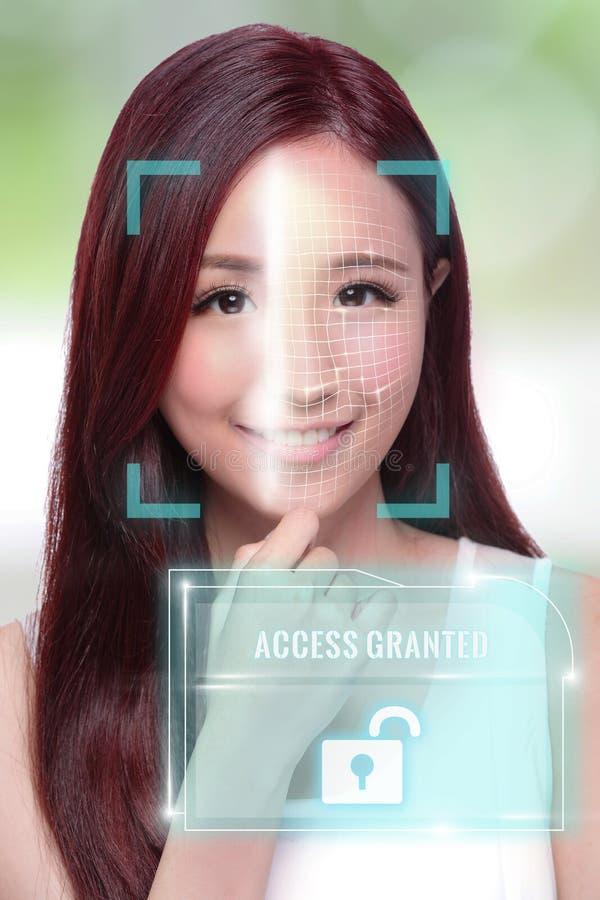 Desbloquee la exploración de la identificación de la cara fotos de archivo libres de regalías