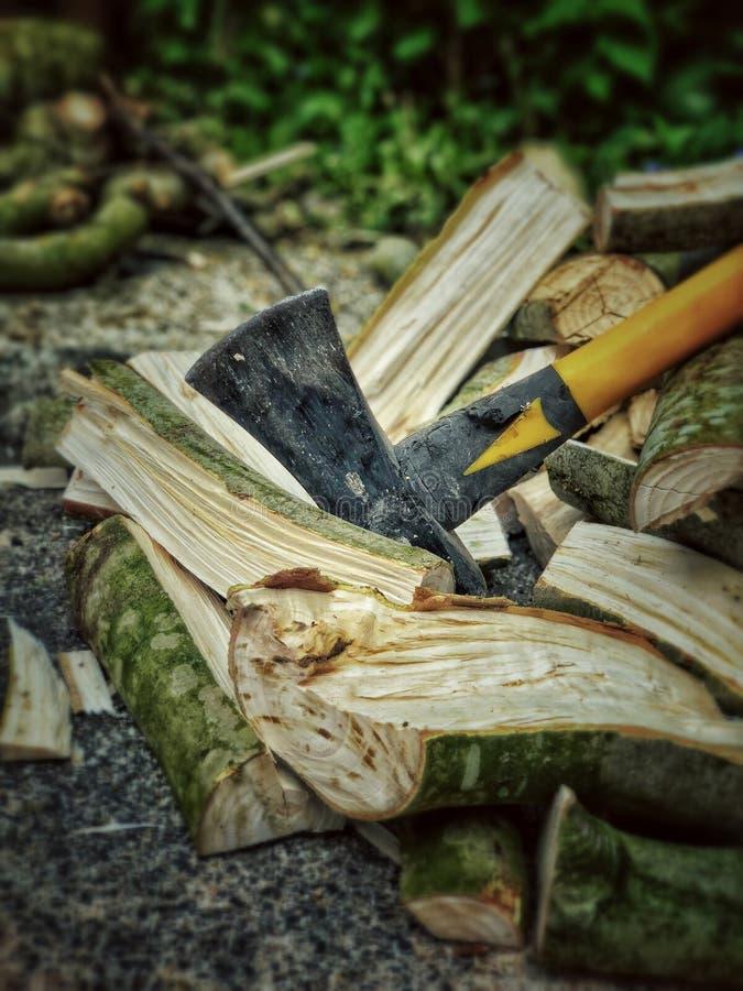 Descansando o machado após ter desbastado a madeira fotografia de stock royalty free