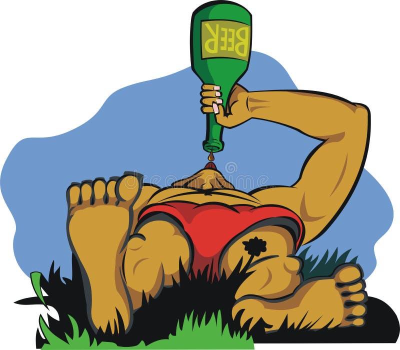 Descanso com cerveja ilustração stock