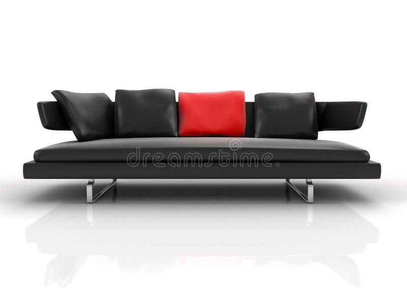 Descanso de couro preto do vermelho do whith do sofá ilustração stock