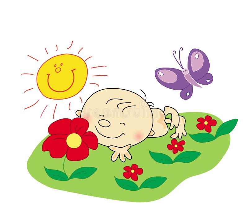 descanso do bebê no verão ilustração royalty free