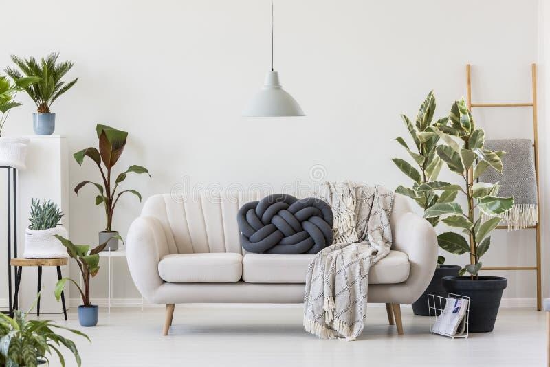 Descanso do nó no sofá branco foto de stock
