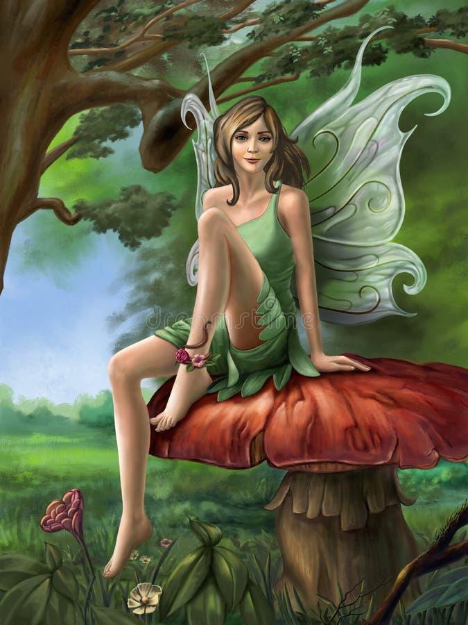 Descanso feericamente da floresta em um cogumelo ilustração do vetor