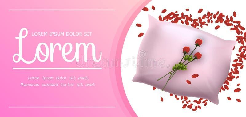 Descanso macio cor-de-rosa com a bandeira vermelha bonita da flor ilustração stock