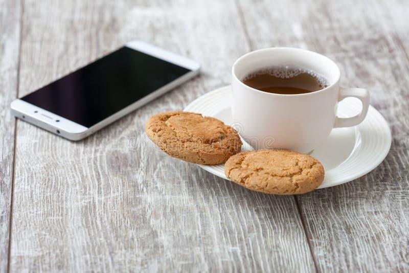 Descanso para tomar café Café con bocado foto de archivo