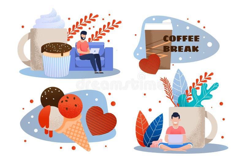 Descanso para tomar café y bocado en el sistema plano de la metáfora del trabajo stock de ilustración