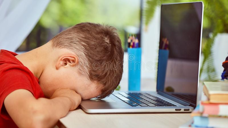 Descansou sua testa no computador que simboliza o desamparo face às dificuldades estudante do rapaz pequeno que senta-se em imagens de stock