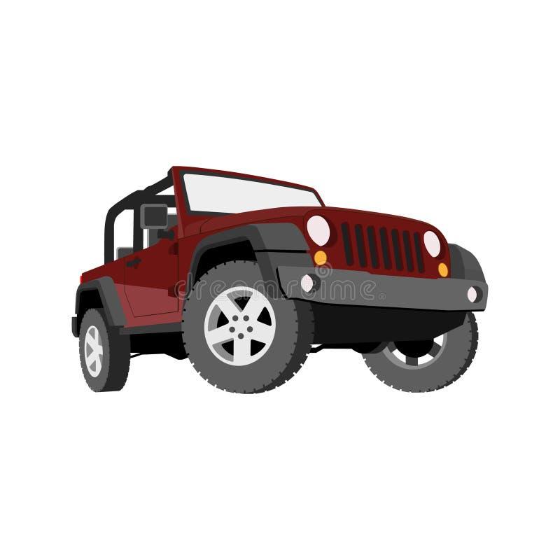 Descapotable, coche, campo a través, jeep, SUV ilustración del vector
