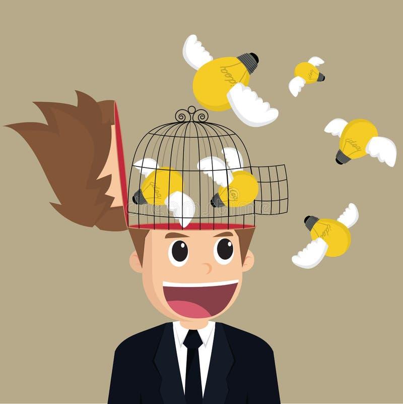 Descarga da ideia do bulbo do homem de negócios ilustração do vetor