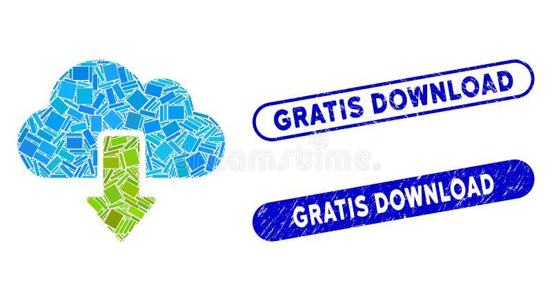 Descarga de mosaico Rectangle con sellos de descarga Gratis de socorro libre illustration
