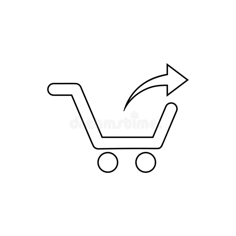 descarga de un icono de la carretilla Elemento de la web para el concepto y el icono móviles de los apps de la web Línea fina ico stock de ilustración